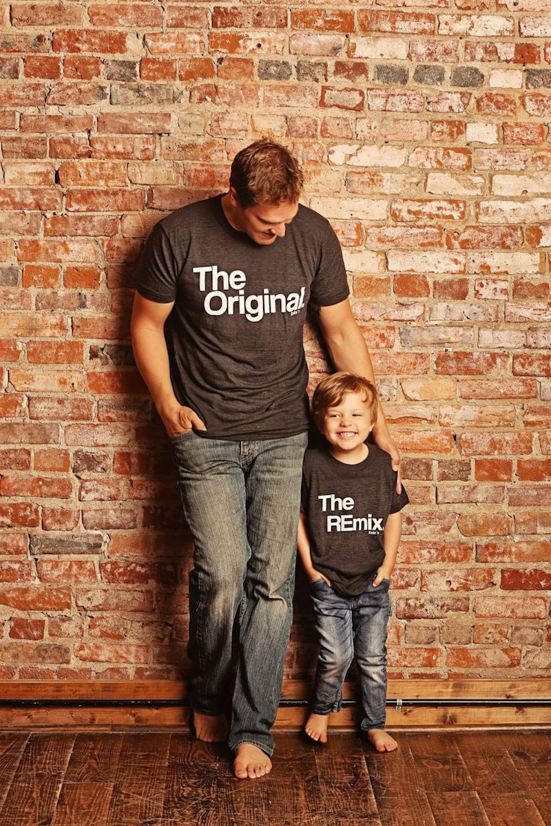 Dad and kid matching tee sets