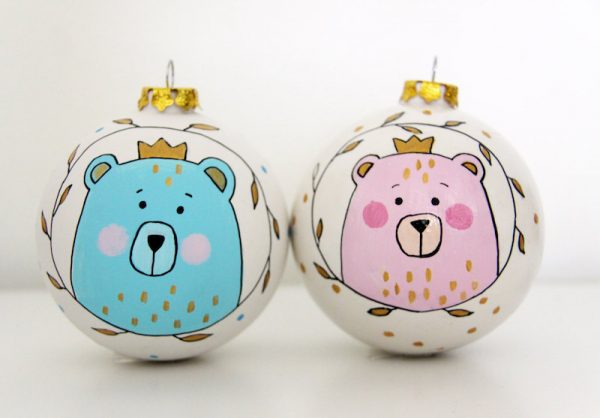 baby's first Christmas bear bauble