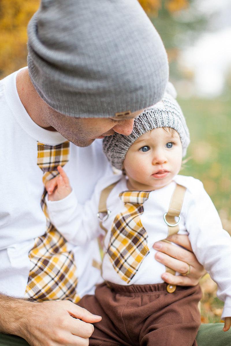 Dad and kid tie and suspender set