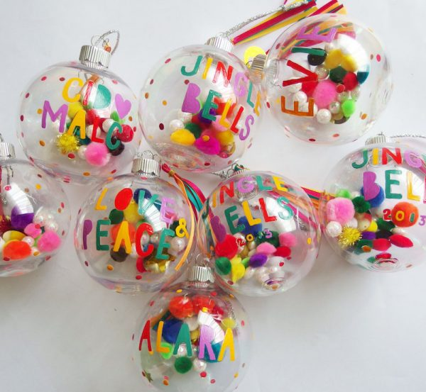 hand painted pompom baubles