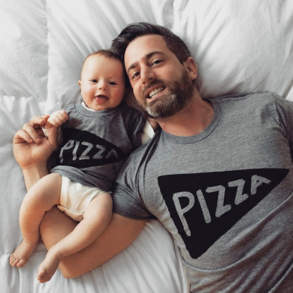Dad and baby pizza tee set