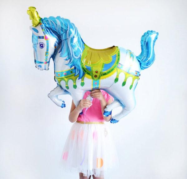carousel horse foil balloon