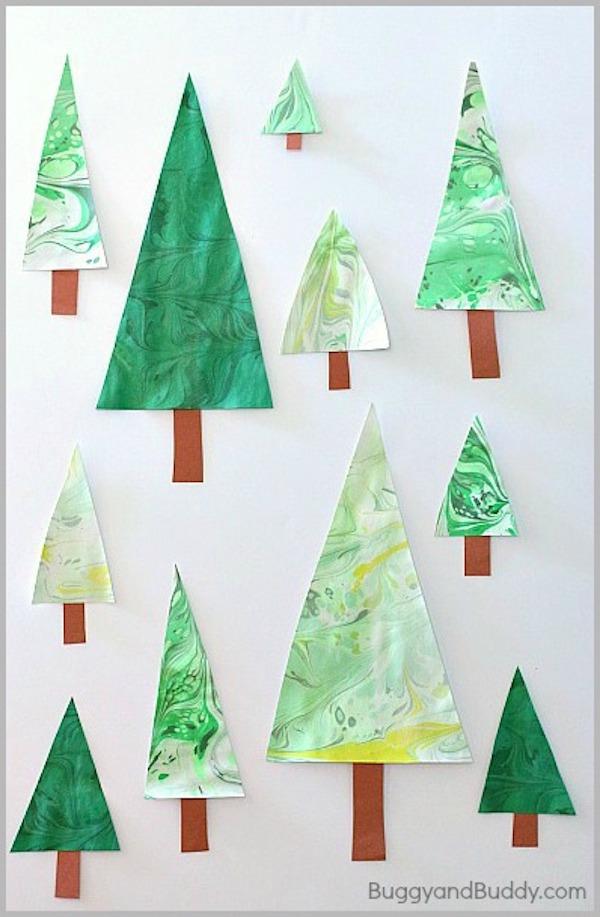 Handmade Marbled Christmas Tree Cards