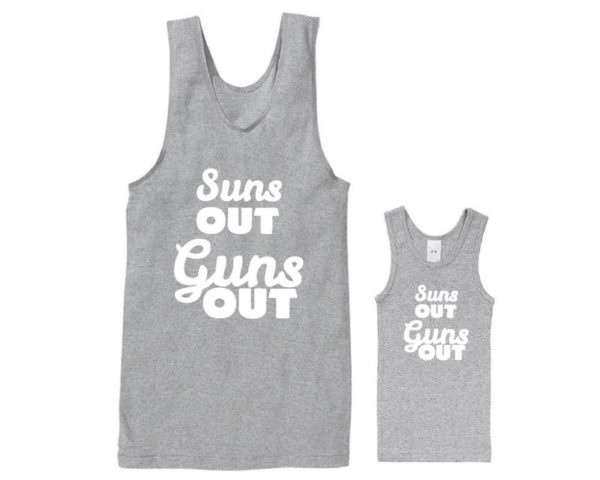 Sun's out, guns out dad and kid singlet set