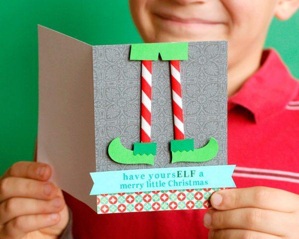 Cute handmade elf Christmas card