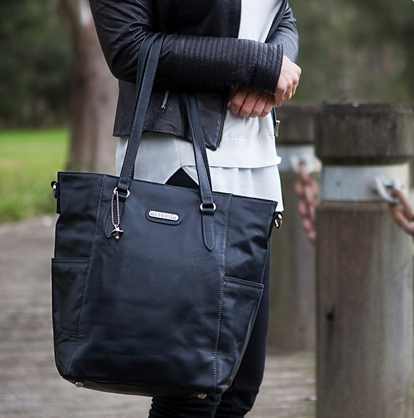 Vanchi black leather tote
