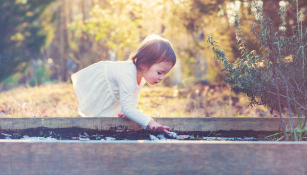 Toddler girl in the garden