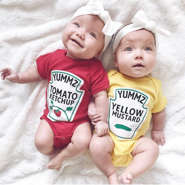 Ketchup and mustard onesies