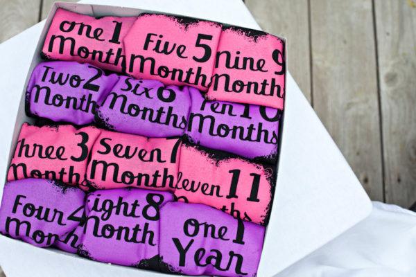Girls Hearts Month by Month Onesie Set