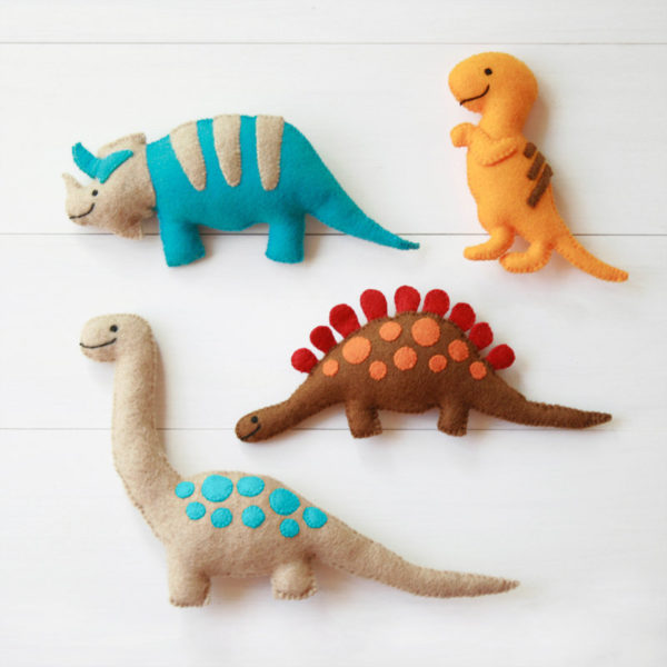Felt dinosaur soft toys