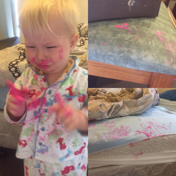 Mac lipstick and toddler
