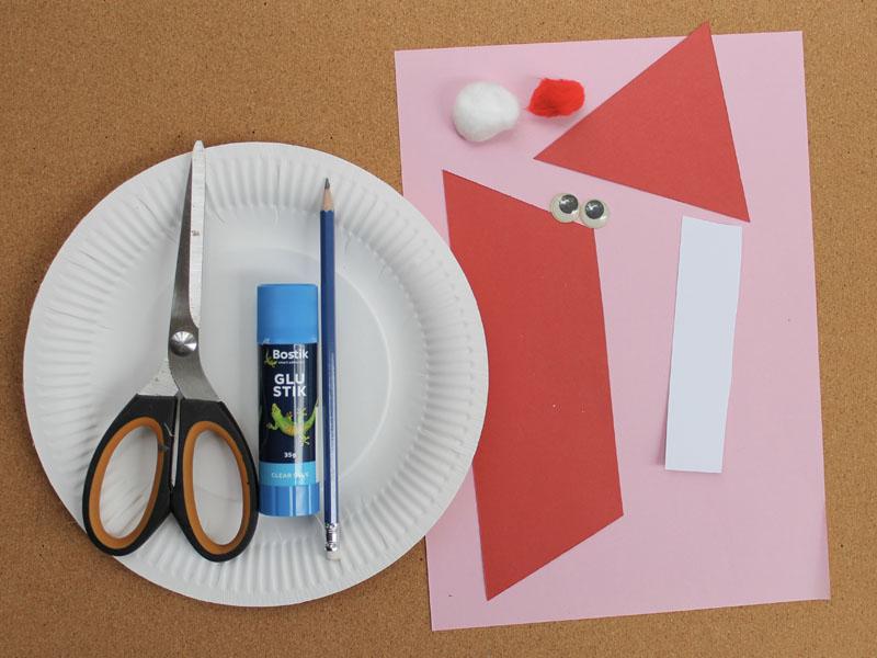 Santa plate craft materials