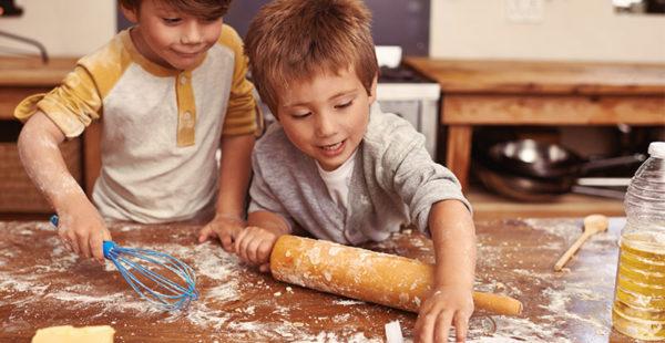 little boys baking