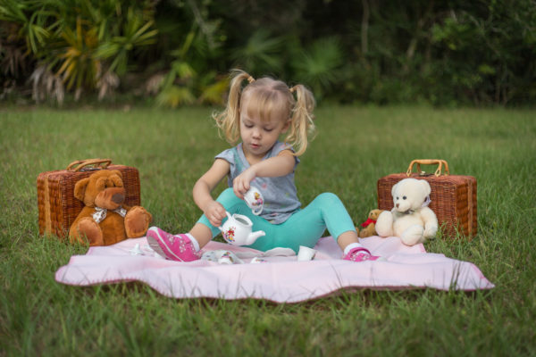 Toddler tea party in back yard