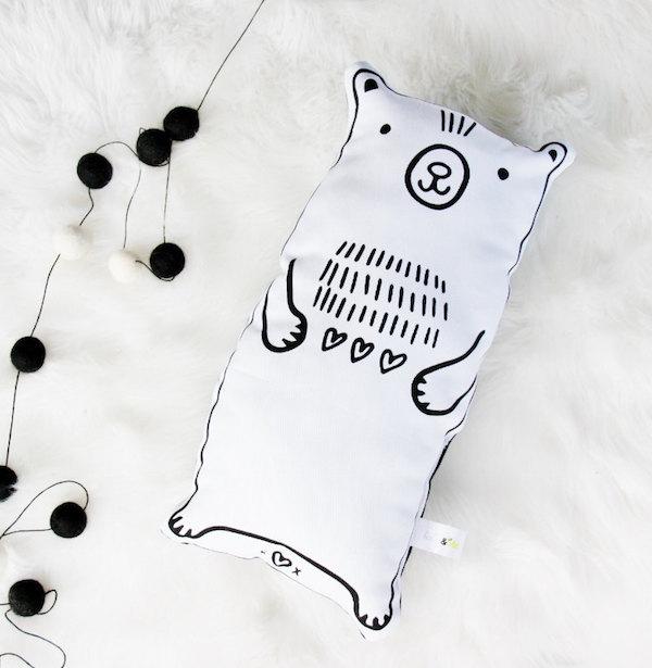 Hand printed bear softie via Etsy