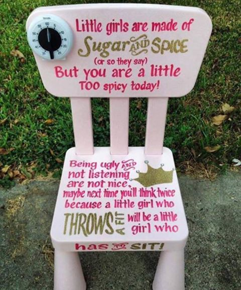 Timeout chair for little girls who are too u201cspicyu201d sends wrong message & Timeout chair for little girls who are too