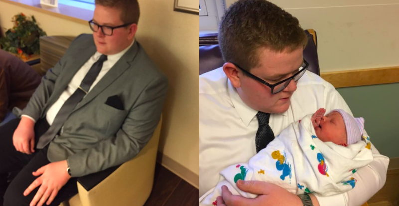 Uncle Wears Suit To Meet Newborn Niece Because Quot First