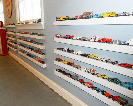 Skinny shelves for matchbox car storage