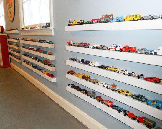 Skinny shelves for matchbox car storage