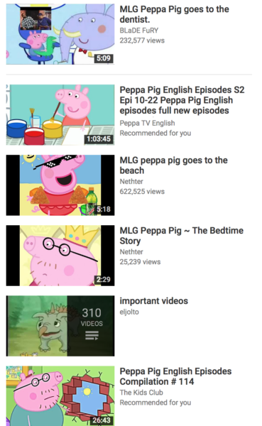 Peppa Pig search results