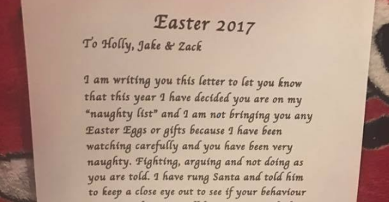 was this mum s note from the easter bunny cruel or completely necessary