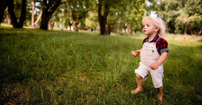 Boy running through grass