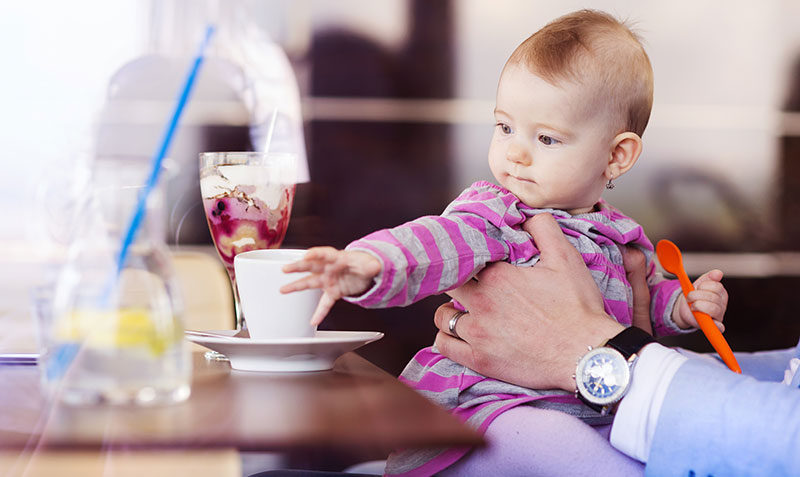 baby, cafe, food, father