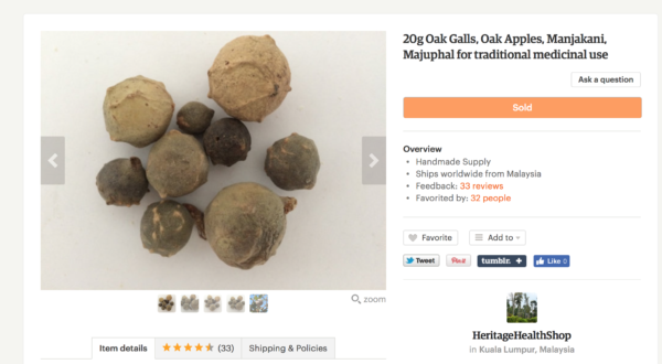 Oak galls via Etsy