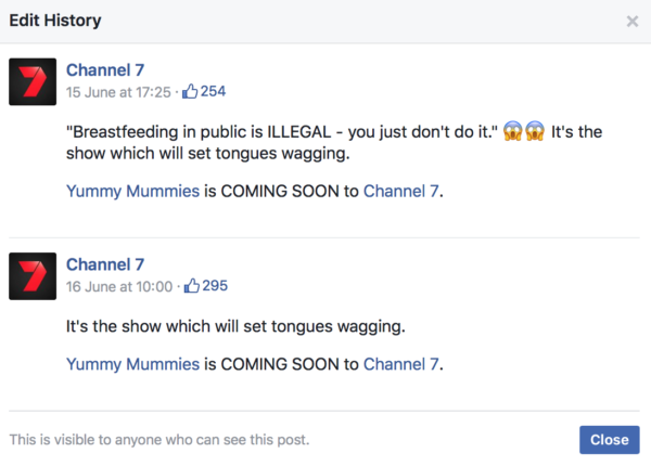 Facebook post about Yummy Mummies