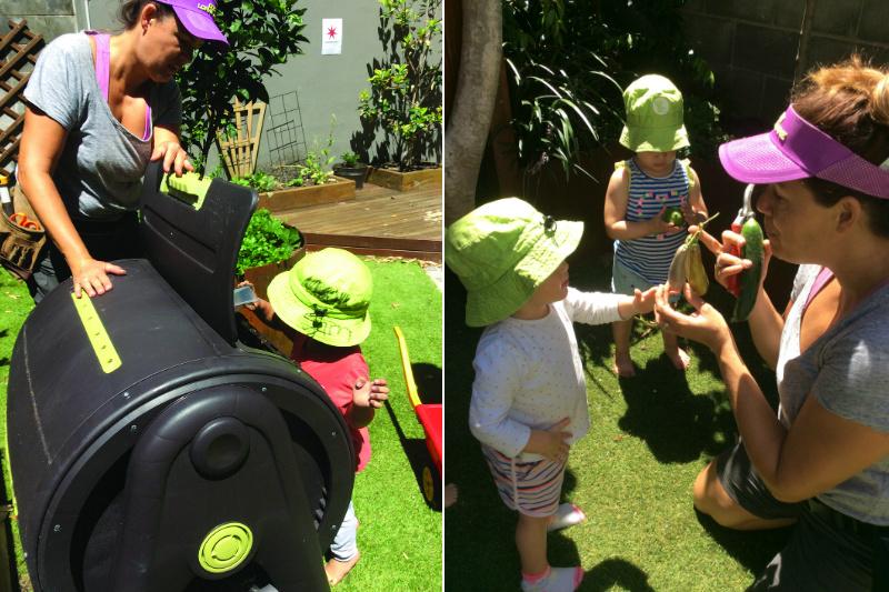 children and teachers gardening together