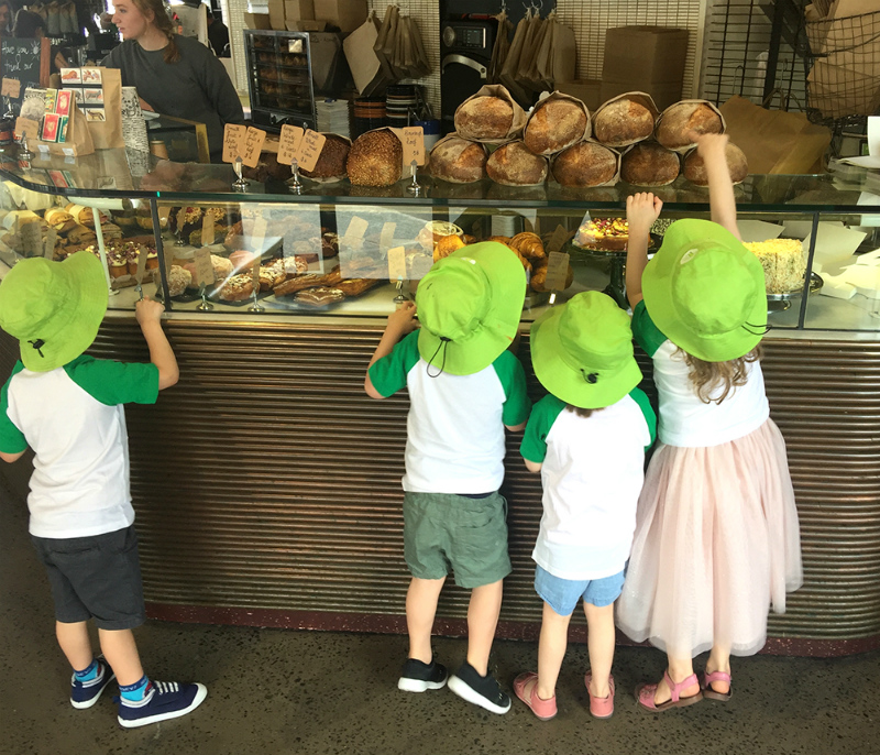 Kids at a cafe counter