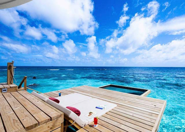 view of maldives from ocean water villa