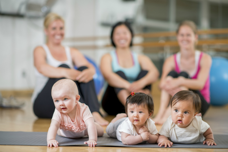 mums and babies at exercise class