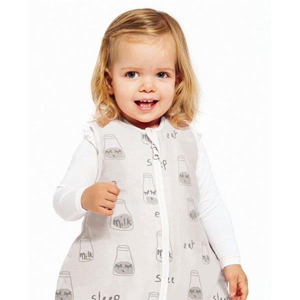 toddler wearing Baby Studio sleeping bag
