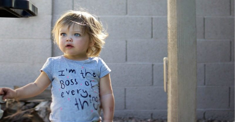 Toddler wearing boss t-shirt