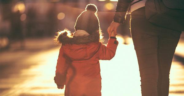Mum walking with child