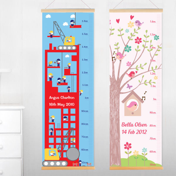 personalised height charts hanging in bedroom