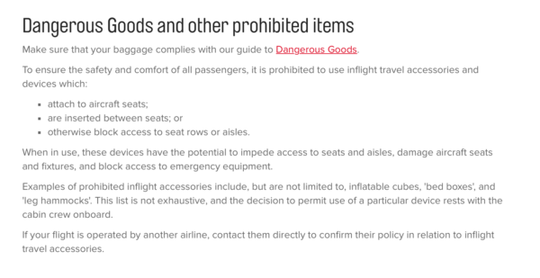 Qantas prohibited items