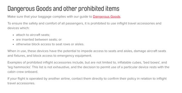Qantas prohibited items