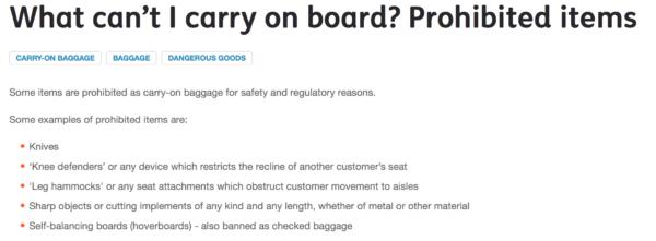 Jetstar prohibited items
