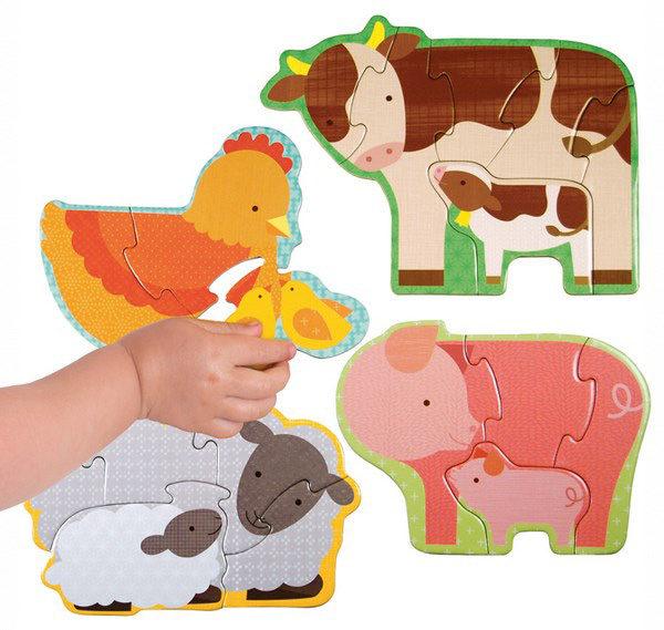 baby hand, puzzle, farm animals