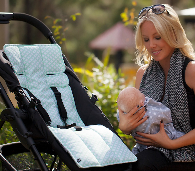 mother and baby with pram and outlook pram liner