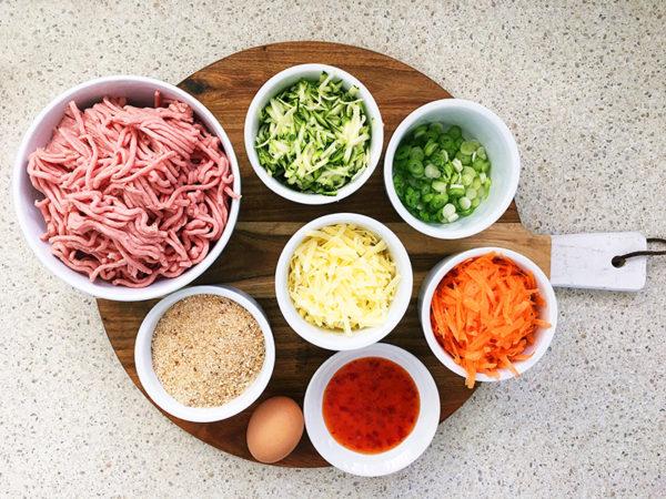 Turkey and vegetable rissoles ingredients