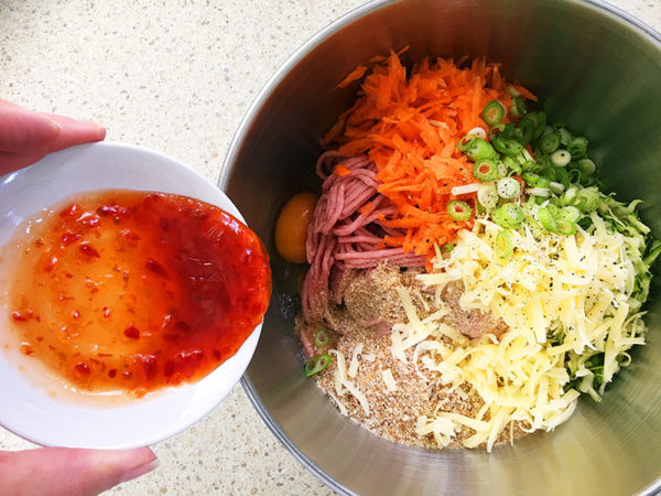 turkey and vegetable rissoles ingredients in a bowl