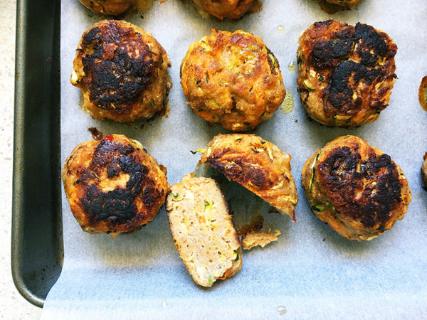 turkey and vegetable rissoles cooked on oven tray