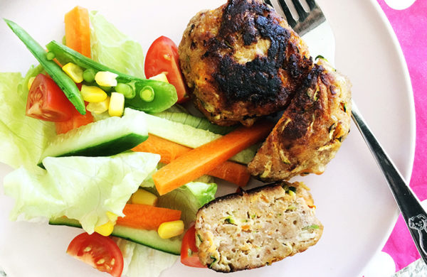 turkey and vegetable rissoles and salad