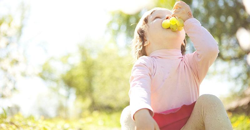 Toddler eating grapes