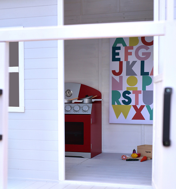 toy kitchen, cubby, poster, toys