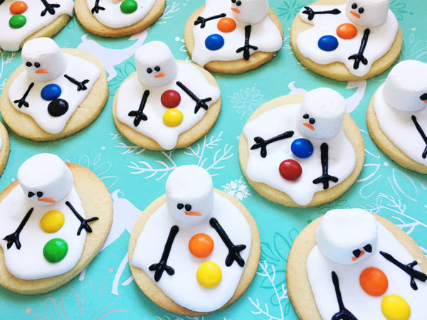melting snowman christmas biscuit process