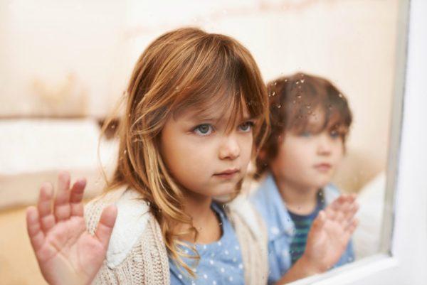 Children looking outside